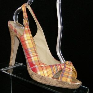 Wet Seal plaid fabric knotted slingback heel 7